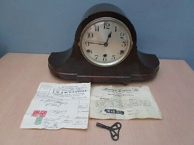 Vintage Wooden Drgm Westminster Chime Mantle Clock With Key