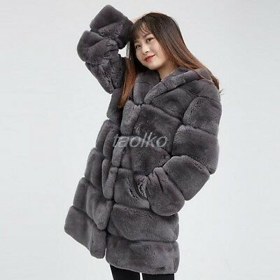 2fb6b8952 New Luxury womens 100% genuine rex rabbit fur hooded trnch coat outwear  overcoat
