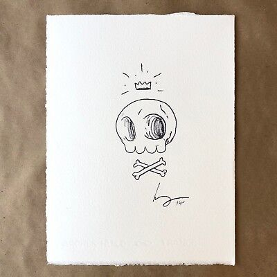 Mike Mitchell Skully Original Art Ink Drawing Signed Sketch Mondo Rare