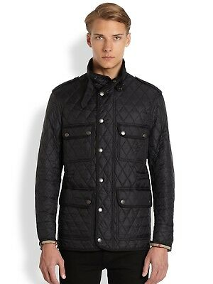 Burberry Brit Mens Black Russell Quilted Barn Jacket Sz M 695 New