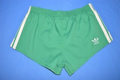 vintage 80s ADIDAS GREEN STRIPED RUNNING KIDS SHORTY SHORTS YOUTH LARGE YL