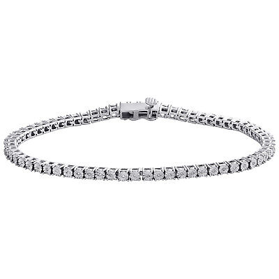 1 Row Sterling Silver Round Diamond 3.50mm Miracle Plate Tennis Bracelet 1/4 CT.