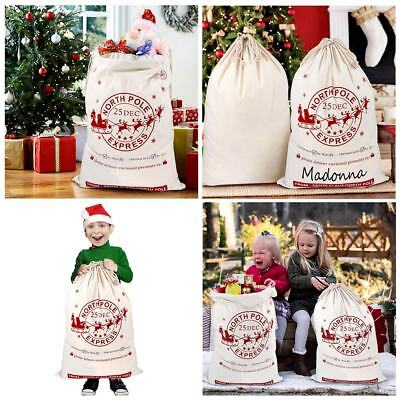 50×Large Canvas Hessian Christmas Santa Sack Xmas Stocking Gift Storage Bag