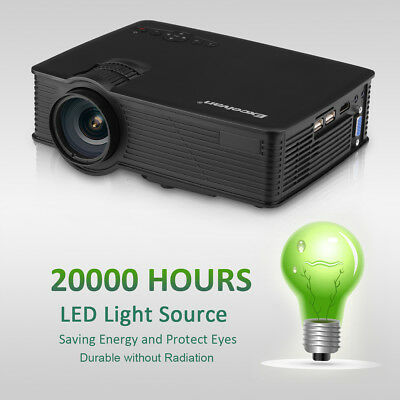 Portable 7000 Lumens 1080P HD 3D LED Projector Home Cinema Theater USB HDMI AU