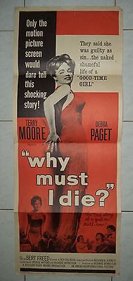 "WHY MUST I DIE? 1960 AIP RARE VINTAGE US INSERT POSTER 36""x14"" TERRY MOORE"