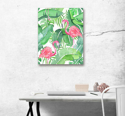 Abstract Art Canvas Painting Oil Photo Prints Tropical Flamingo Palm Room Decor