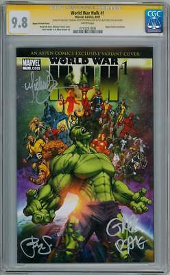WORLD WAR HULK 1 ASPEN VARIANT CGC 9.8 SIGNATURE SERIES SIGNED x3 MICHAEL TURNER