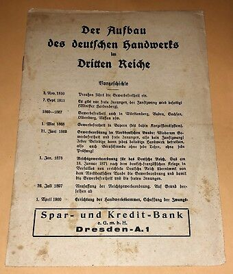Orig WWII NSDAP Pamphlet CONSTRUCTION of GERMAN CRAFTS in THIRD REICH Dresden