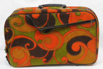 Vintage 1960s Mod Carry On Bag Corduroy Orange Green Black A.D. Sutton Japan