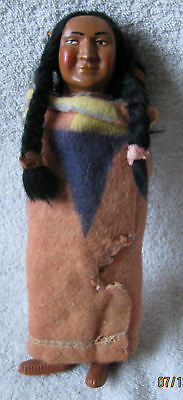 Vintage Skookum Indian Doll Figure & Papoose Child Beaded Necklace 1950's 1960's