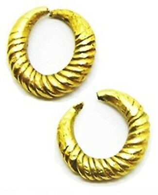 1400 - 700 B.C. Middle Bronze Age Gold Bar Twisted Earrings Ring Money Adornment