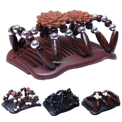 Women Hair Comb Wood Beaded Stretchy Double Row Clips Hair Slide Comb EH7E 03