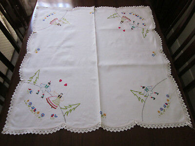Pretty Hand Embroidered Afternoon Tea Cloth With Folk Dancers