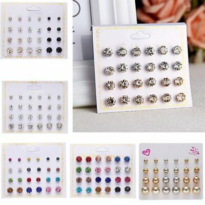 12PCS Fashion Punk Rhinestone Round Men's Women Unisex Ear Stud Earring Jewelry