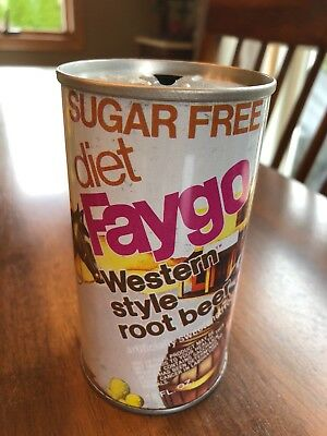 1970's Faygo Diet Root Beer Straight Steel Soda Pop Can