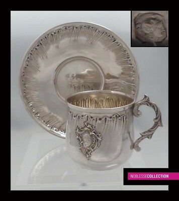 FINE ANTIQUE 1890s FRENCH STERLING SILVER COFFEE CUP & SAUCER Rococo style