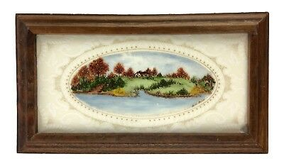 Vintage Hand Painted Framed Ceramic Tile House on River Scene Signed Beth Grull