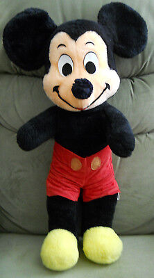 """1970s Vintage Made In USA Walt Disney 20"""" Mickey Mouse Stuffed Plush Doll Toy"""