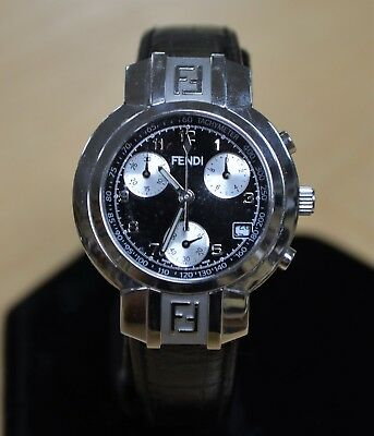 comprare on line 980ae 5aa6e *FENDI OROLOGI STAINLESS Steel Black Leather Band Chronograph Ladies Watch  + Box