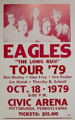 """The Eagles Concert Poster - 1979 - The Long Run Tour - Pittsburgh, PA - 14""""x22"""""""