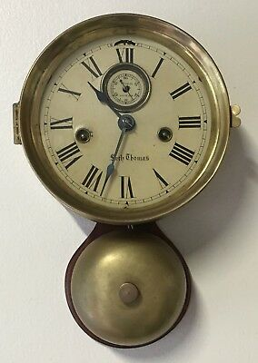 Antique Early Seth Thomas Ship's Bell Clock with Outside Bell