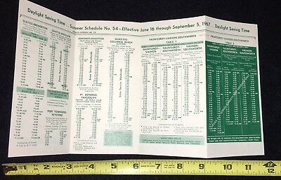 Ferry Schedule 1967 Seattle Washington 98104 Small in size great collectible WA