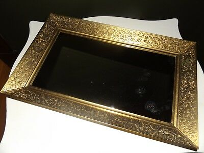 """Large Gold Metal With Ornate Detail Rectangle Shaped Vanity Tray-16 1/2"""" Long"""