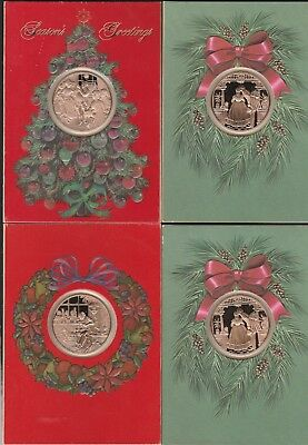franklin mint vintage christmas cards 4 with bronze medals free shippingg - Mint Christmas Cards