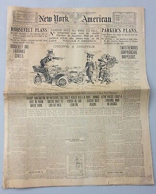 1904 New York American Newspaper Roosevelt's Nomination Plan Chicago Lynching