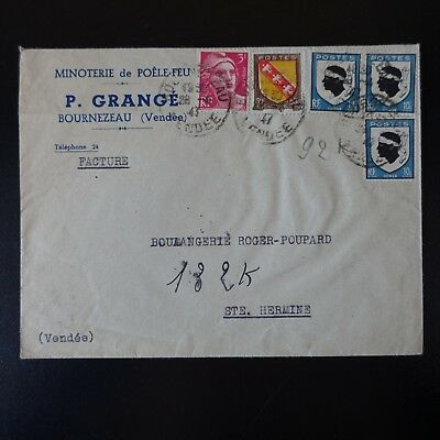 N°755 x3 + N°757/806 ON LETTER COVER CAD BOURNEZEAU 1947 VENDEE