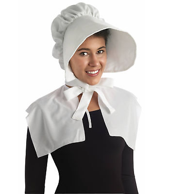 Colonial Pilgrim Victorian Olden Day Pioneer Women Costume White Bonnet Hat