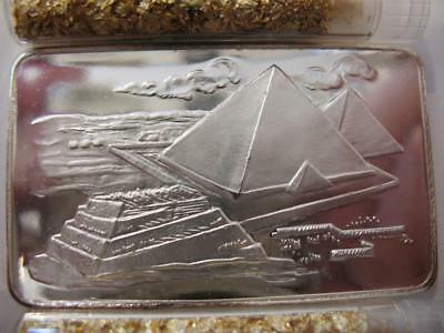 1-Oz..999 Rare1973 Silver Bar 4000 Minted Egyptian Pyramids Great Detail  + Gold