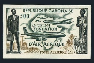 Gabon C5 imperf,MNH.Michel 170B. Air Afrique 1962.Plane Map,Sheep.