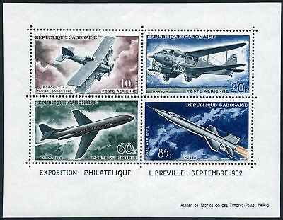 Gabon C10a,hinged.Mi Bl.1. PHILEXPO-1962.Development of Air Transport.Breguet 14