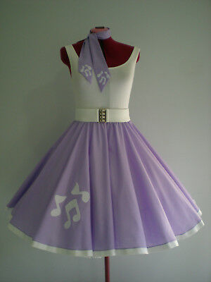 """GIRLS/CHILDS ROCK N ROLL/ROCKABILLY """"Music Notes"""" SKIRT-SCARF 10-12 Pastel Lilac"""