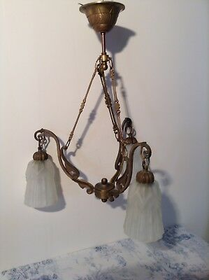 French Art Nouveau Style Bronze Ceiling Light Chandelier (3048)