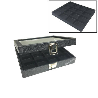 Gift Idea~Half Glass Top Black Leatherette Metal Clap Jewelry Displays Case Deal