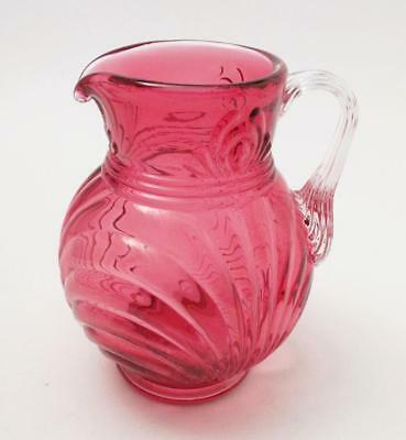 Vintage Fenton Glass Country Cranberry Pink Ribbed Optic Creamer Jug Signed