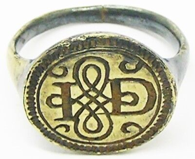Rare 16th - 17th century Tudor Silver-gilt Signet Ring Lovers Knot I.D. Initials