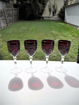 Four Cristal d'Arques Luminarc Ruby Red Antique Wine Goblet Arcoroc France
