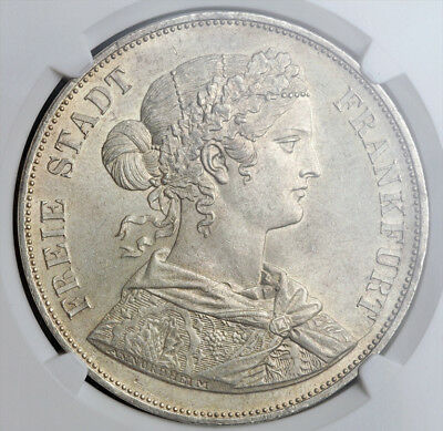 1861, Frankfurt (Free City). Silver Double Thaler (3½ Gulden) Coin. NGC MS-63!