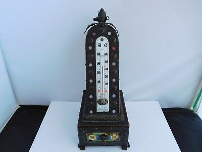 Stunning And Unique Antique Arts & Crafts Bronze And Mosaic Desk Thermometer