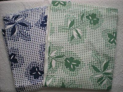 LOT 2 Full Vintage FEEDSACKS Quilt Sewing DollClothes Craft Same Print 2 Colors