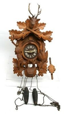 W German Cuckoo Clock Stag Guns Crest Horn Rabbit & Pheasant Black Forest