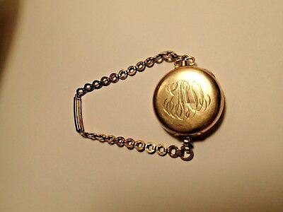 ANTIQUE Gold Pocket Monogram Watch 20 years Wadsworth Referee with strap
