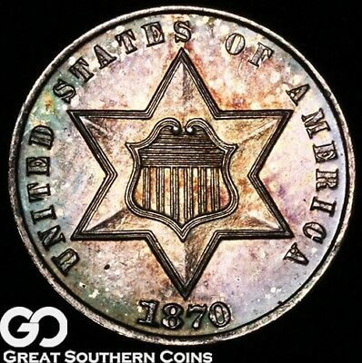 1870 Three Cent Silver PROOF, Gorgeous Color, Superb Gem PF ** Free Shipping