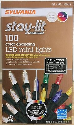 new sylvania stay lit 100 mini christmas led lights synchronized white multi