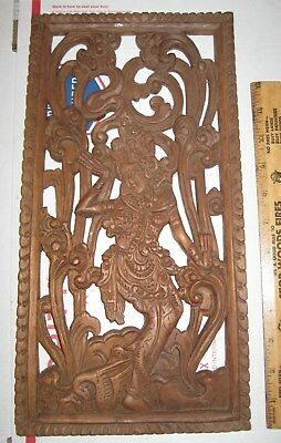 vtg Hand Carved Teak? Wood Art Panel Goddess Dancer asian hindu accent