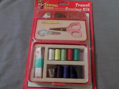 Travel Sewing Kit Thread Scissors Needles Tape Measure Buttons Snaps Pins NEW!