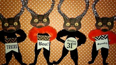 4 Vintage Style Halloween  Chenille Ornaments SPOOKY BLACK CATS